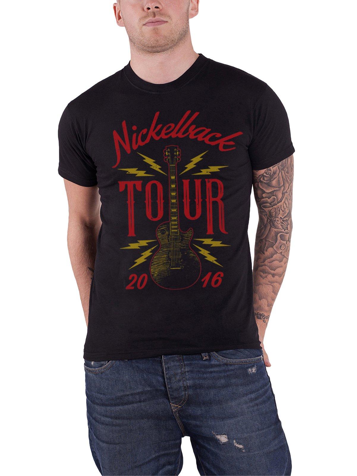Nickelback T Shirt Guitar Tour 2016 Band Logo S Black