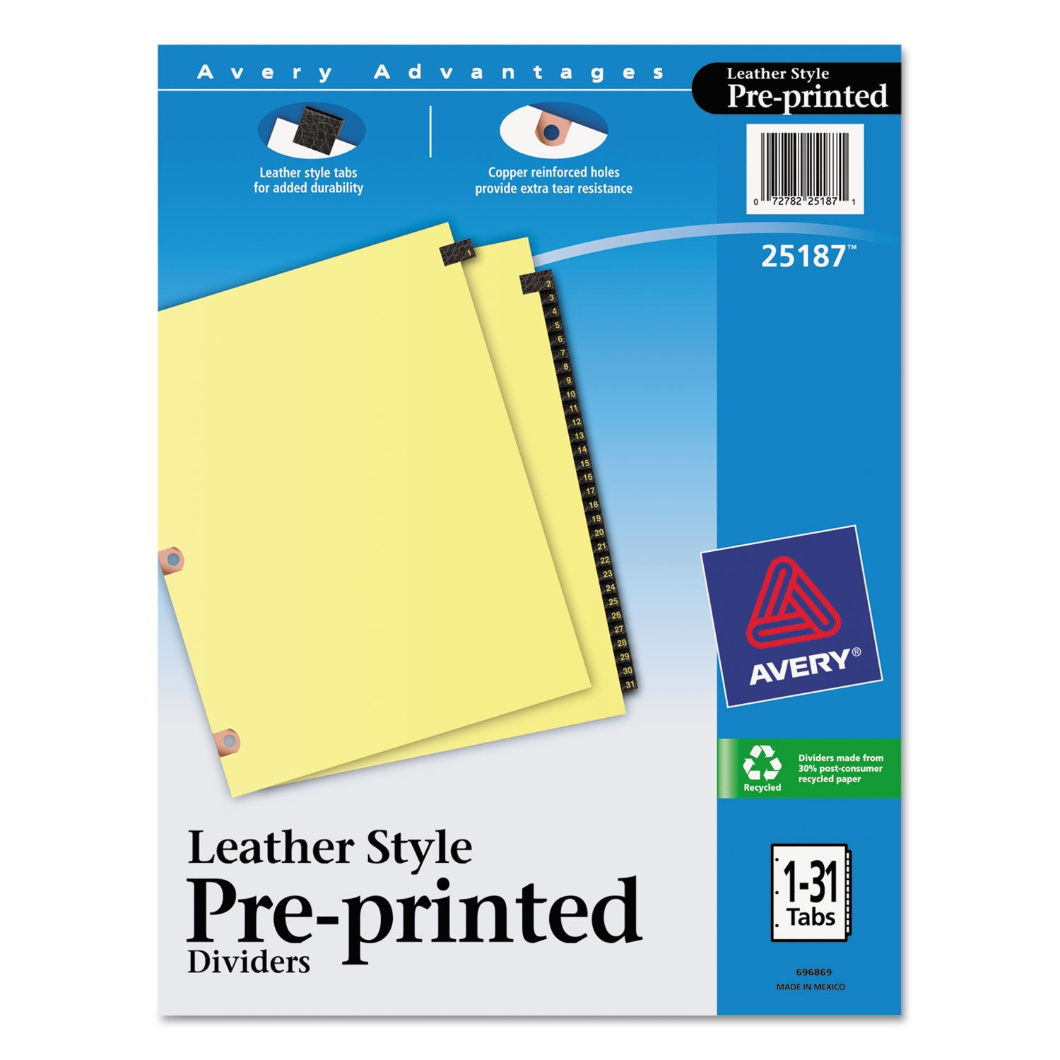 Avery 25187 Black Leather Tab Dividers, 1-31, 31 Tabs, 8-1/2'x11', Buff 8-1/2x11 AVERY-DENNISON-KNM