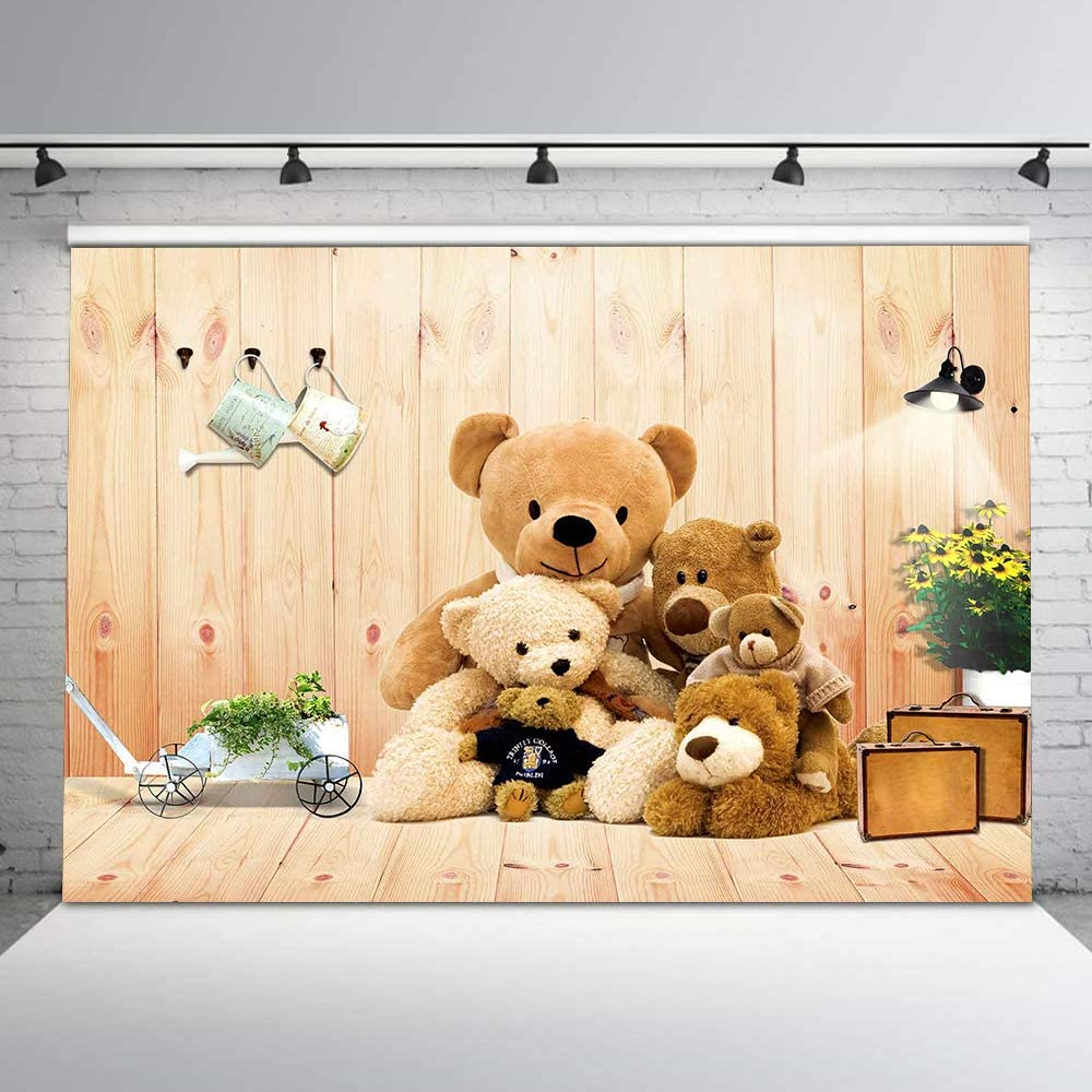 5x5FT Vinyl Backdrop Photographer,Doodle,Detailed Teddy Bear Background for Baby Birthday Party Wedding Studio Props Photography