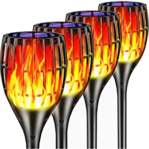 Upgraded Solar Torch Lights, Bright Waterproof Flickering Dancing Flames Torches Light Outdoor Solar Landscape Decoration Lighting Outside Dusk to Dawn Auto On/Off Path Lights (4 Pack - Crescent)