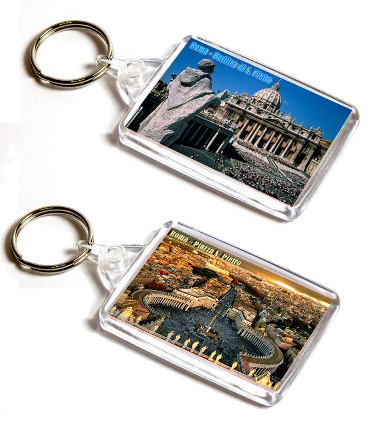 AWS Set 2 Portachiavi Roma Piazza San Pietro e Basilica Souvenir Citt/à del Vaticano Italia Key Ring in PVC