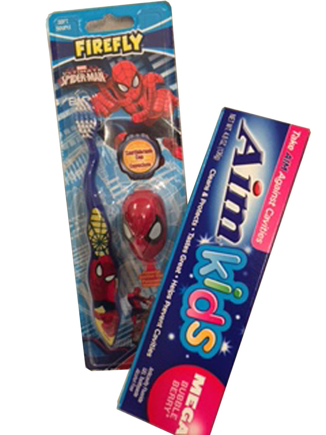 Ultimate Spiderman Toothbrush, Protective Toothbrush Cap, and Aim Bubble-Berry Kids Toothpaste, Bundle of 3 Items Inc.