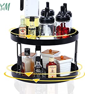 Spice Rack Organizer for Cabinet Organizers and Storage, 2 Tier Lazy Susan Turntable 12inch, 360°Rotating Kitchen Counter Cabinet Organizer, Metal Pantry Spice Containers-Black with Bronze Brush