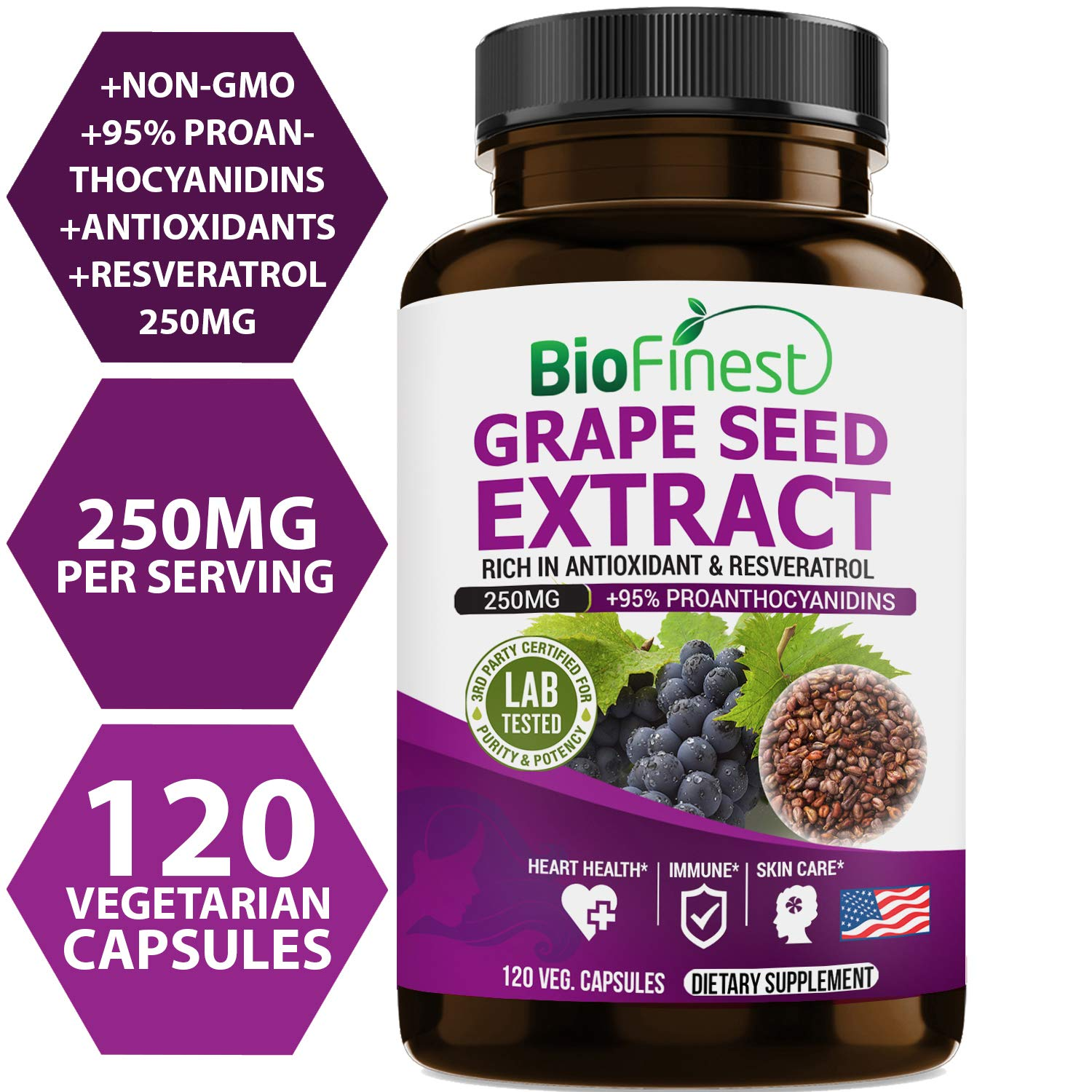 Biofinest Grape Seed Extract 250mg - 95% Proanthocyanidins - Pure Gluten-Free Non-GMO - Made in USA - Grape Seeds Supplements for Healthy Heart, Blood Pressure, Skin Care (120 Vegetarian Capsules)