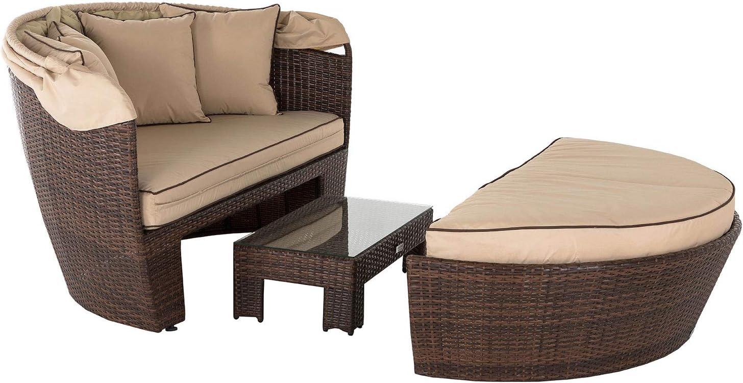 Sofá cama de día de ratán, ratán Venecia 3 piezas Juego de muebles de jardín – marrón: Amazon.es: Jardín