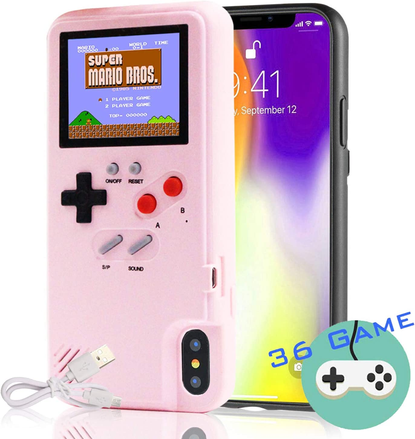 Gameboy Case for iPhone, Autbye Retro 3D Phone Case Game Console with 36 Classic Game, Color Display Shockproof Video Game Phone Case for iPhone 6/6S/7/8 (Pink)