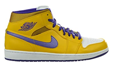 0797ea82fd8312 Jordan Air 1 Mid Lakers Men s Basketball Shoes University Gold Yellow-White- Grape