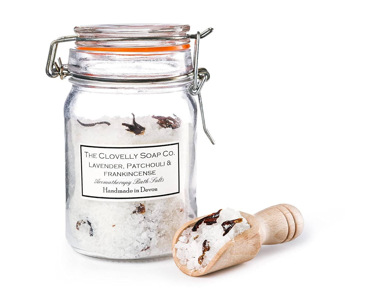 Clovelly Soap Co Natural Scented Lavender Epsom Bath Salts with Wooden Scoop in a Clip Top Jar The Clovelly Soap Co