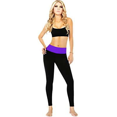 Ann Chery 7026 Womens Slimming Leggings Workout Pants Tummy Control Black and Purple