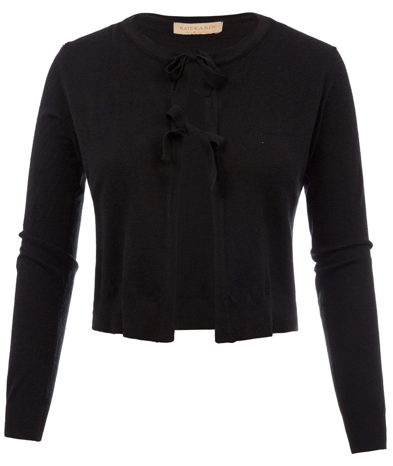 Kate Kasin Women's Cropped Knit Cardigan Self-Tie Bow-Knot Shrug Black,M