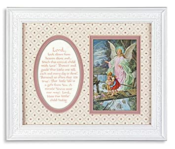 graphic relating to Guardian Angel Prayer Printable identify Father or mother Angel upon Bridge Clic - Blessing Prayer Double Matted Framed Print for Women of all ages Place (11.5\