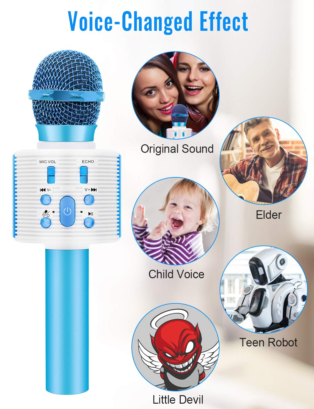 Wireless Karaoke Microphone with Speaker Pro, 3-in-1 Portable Handheld Karaoke Mic Home Party Birthday Gifts for Kids Speaker Machine for Android/ PC /phone(Blue) by weird tails (Image #3)