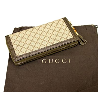 9c147e66bbe Amazon.com  Gucci Bamboo Bronze Diamante Canvas Clutch Zip Around Wallet  224253  Shoes