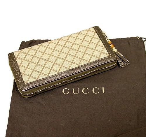 Gucci 224253 - Cartera de lona de bronce de bambú con cierre de cremallera: Amazon.es: Zapatos y complementos