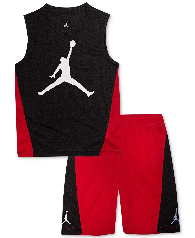 Jordan Air Boy`s T-Shirt and Shorts 2 Piece Set (Black(855950-023)/Red, 6)