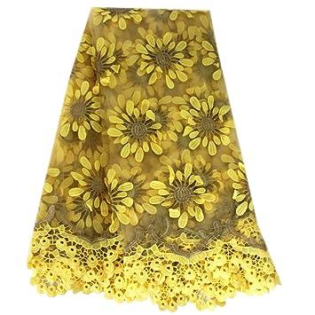 Lacerain Tela de encaje africano de 5 m, tejido de encaje bordado ...