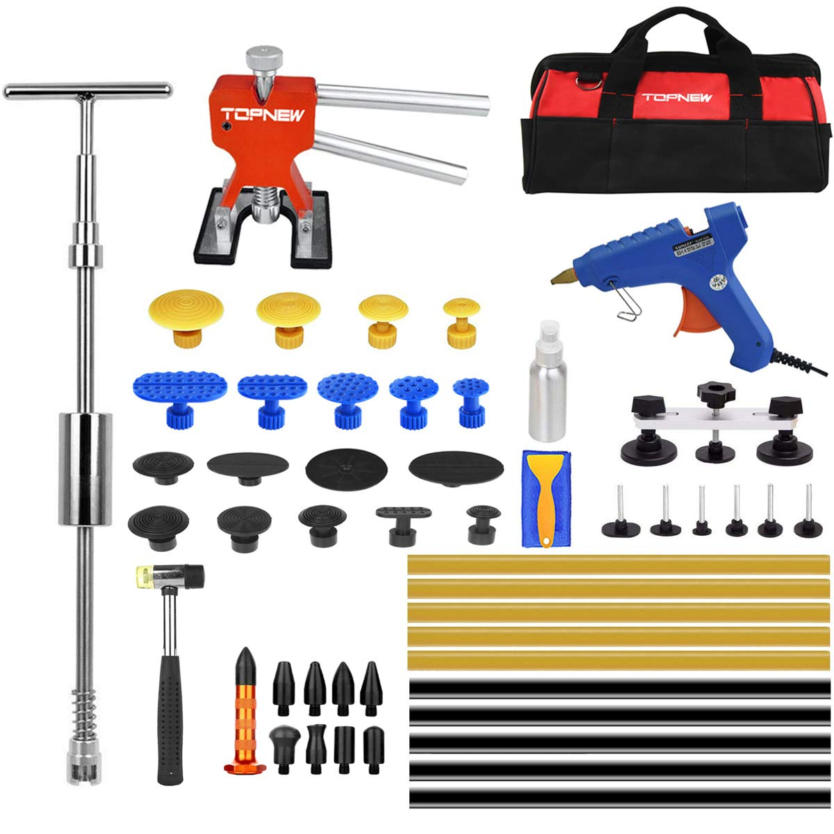 JMgist 52Pcs Auto Body Paintless Dent Repair Red Dent Lifter with Adjustable T-Bar Tool PDR for Car Motorcycle Refrigerator Washing Machine