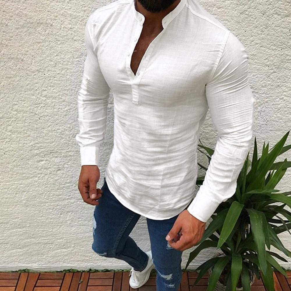 Summer Solid Linen Long Sleeve V Neck Button Up Male Casual Business Daily Blouse iCODOD Men Fashion Shirt