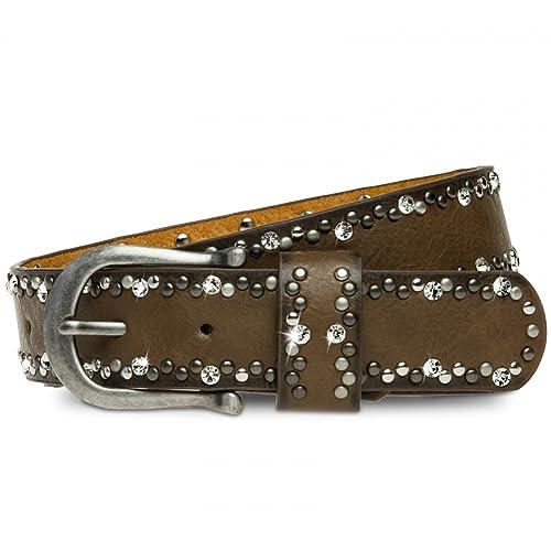 CASPAR GU292 Cinturón para Mujer con Strass y Remaches Sencillos