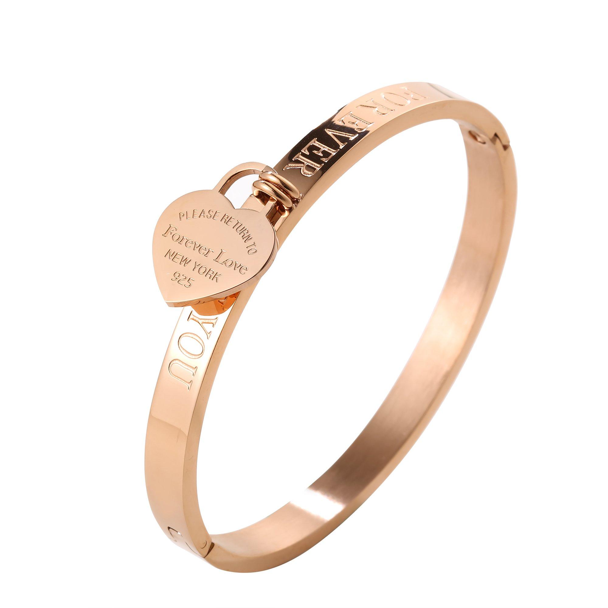 JINHUI ❤Forever Love Gift Jewelry 18 K Rose Gold/Gold Bangle Bracelet Heart Pendant Forever Love Letters Engraved Bangle Bracelet for Women Size 6.5'' (Rose Gold)