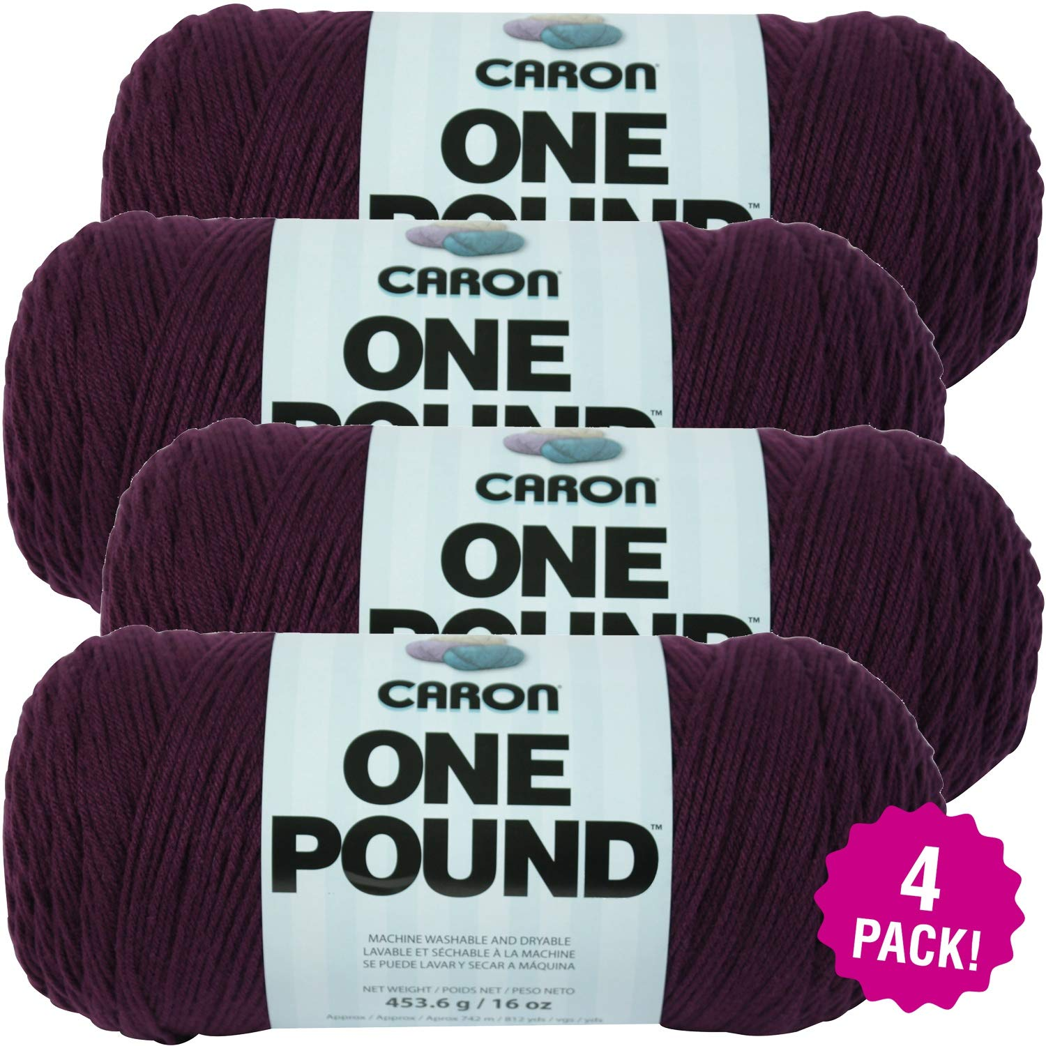 Caron 99528 One Pound Yarn-Deep Violet, Multipack of 4, Pack