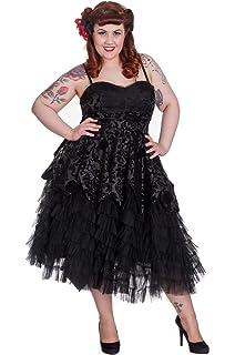 d1972f48c2c8c9 Hell Bunny Plus Gothic Victorian Midnight Ball Black Lace Ruffled Dress