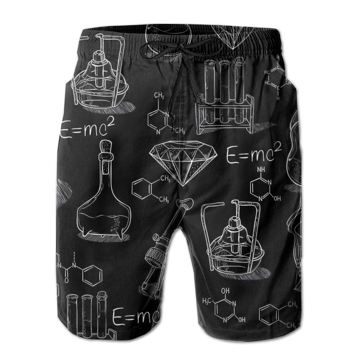 SARA NELL Mens Swim Trunks Chemistry Lab Pattern Surfing Beach Board Shorts Swimwear