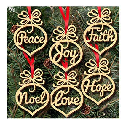 amazon com alinay 6pcs christmas tree deco wooden word peach heart