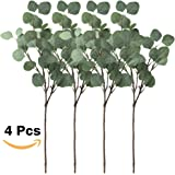 "Winlyn Pack of 4 Artificial Silver Dollar Eucalyptus Bushes in Grey Green 25.5"" Tall x 9.5"" Diameter Artificial Greenery Holiday Greens Faux Silvery Greens Floral Arrangement"