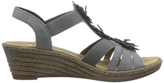 Rieker 62461 Women Open Toe, Damen Offene Sandalen mit Keilabsatz, Grau (dust/staub/43), 38 EU