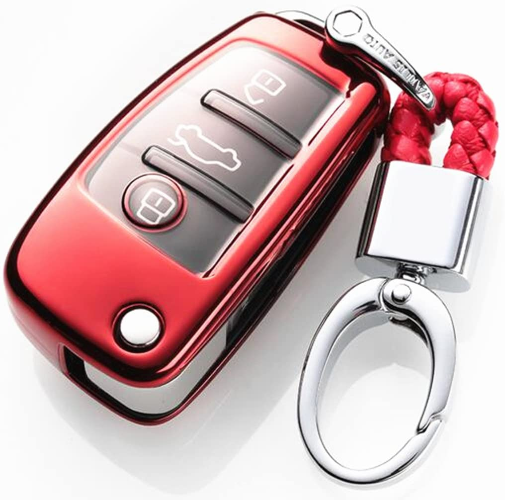 YUWATON Car Key Chians Key Case Cover for Audi A3 A4L A5 A6 Q3 Q5 Q7 TT S Folding Key Cover Key Case Key Fob Pink