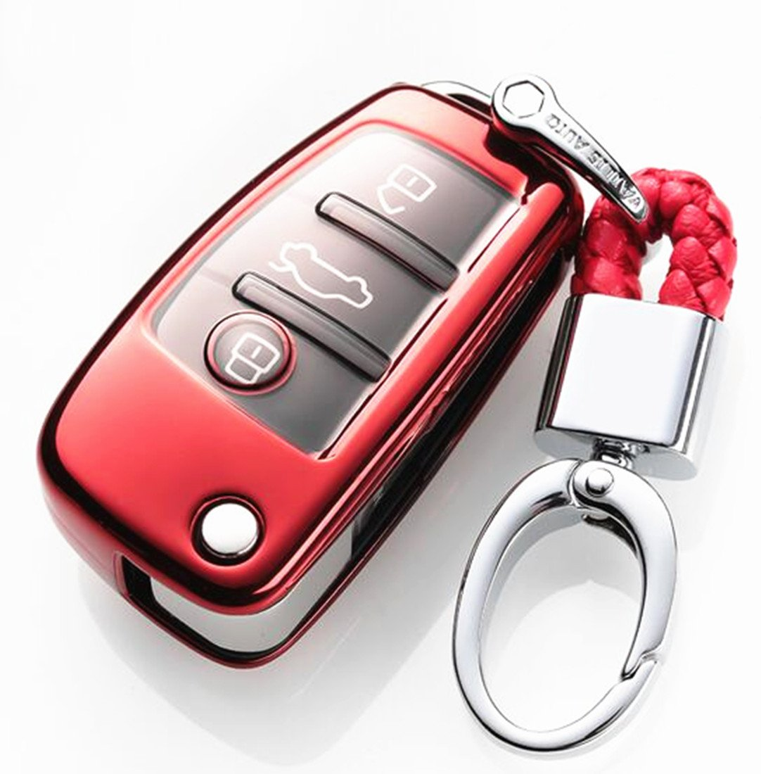 YUWATON Car Remote Key Cover Key Case Keychains for Audi A3 A4 A5 A6 A7 Key case Q3 Q5 Q7 Car Key Set Key Fobs(Gold)