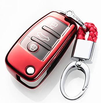 YUWATON Funda para Llave de Coche con Mando a Distancia para Audi, A1, A3, A5, Q3, Q7, Carcasa para Llave, Llavero Rosso