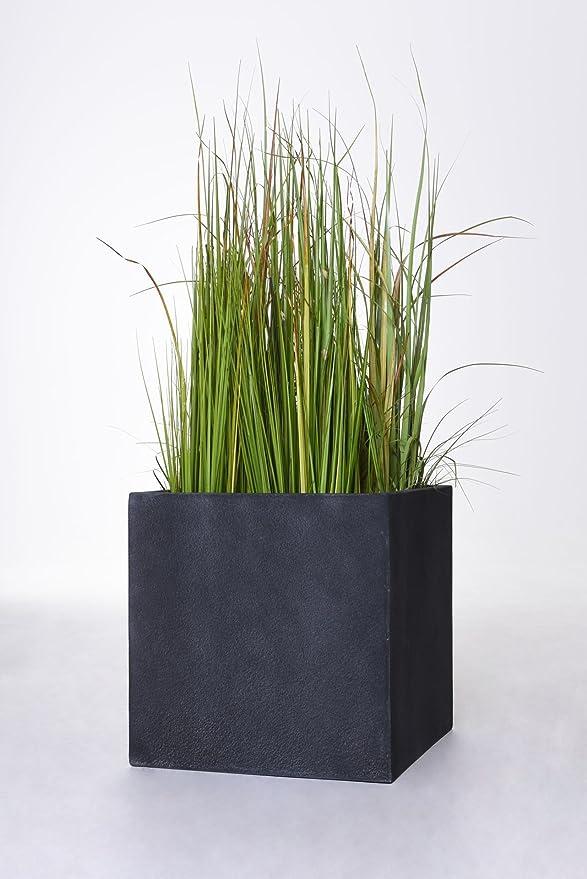 Blumenkübel Fiberglas Stein-Optik quadratisch 50x50x50cm anthrazit grau.