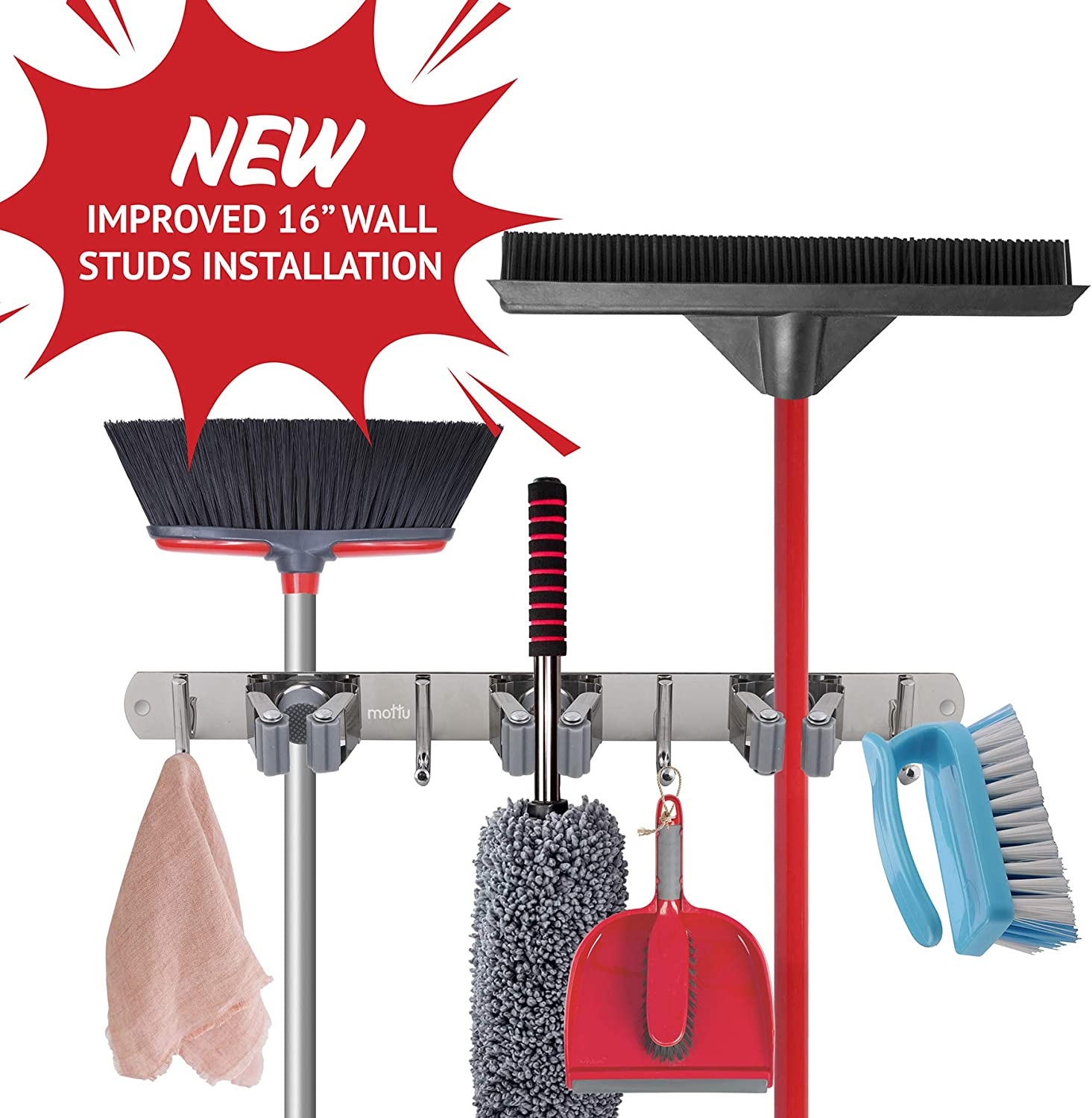 """Mop and Broom Organizer Wall Mount 16"""" Wall Stud Installation Broom Hanger Mop Holder for Home Organization Heavy Duty Stainless Steel Utility Hooks for Kitchen Closet Laundry and Bathroom Storage"""
