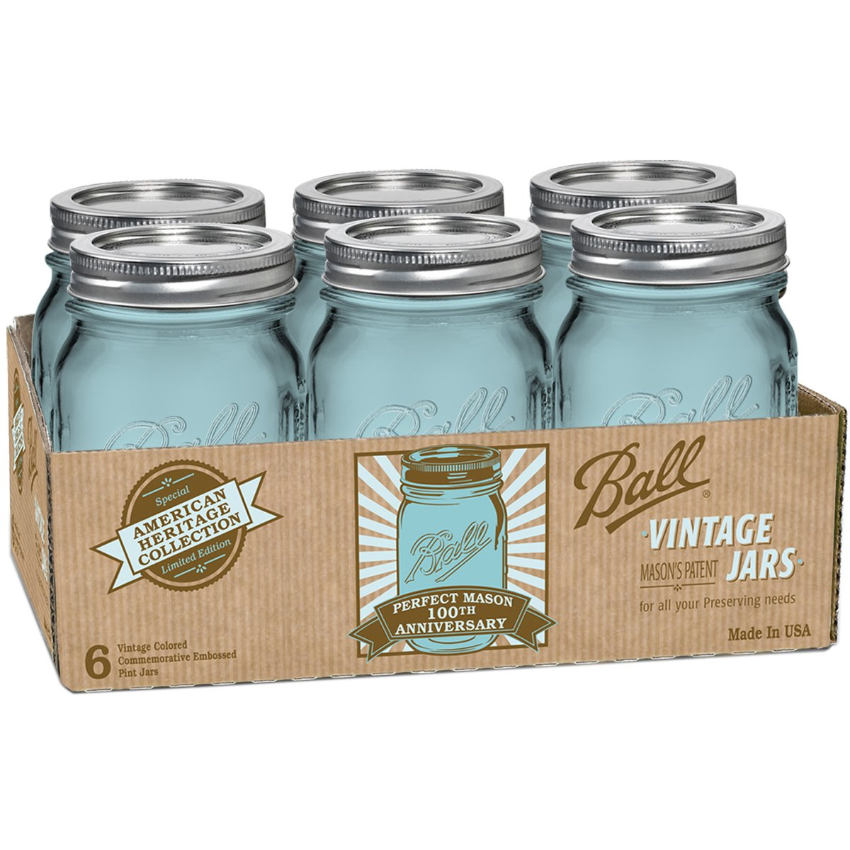 Amazon.com: Ball Jar Heritage Collection Pint Jars with Lids and ...