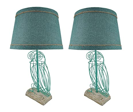 Metal table lamps pair of turquoise blue wire owl table lamps with metal table lamps pair of turquoise blue wire owl table lamps with linen shades 14 x keyboard keysfo Image collections