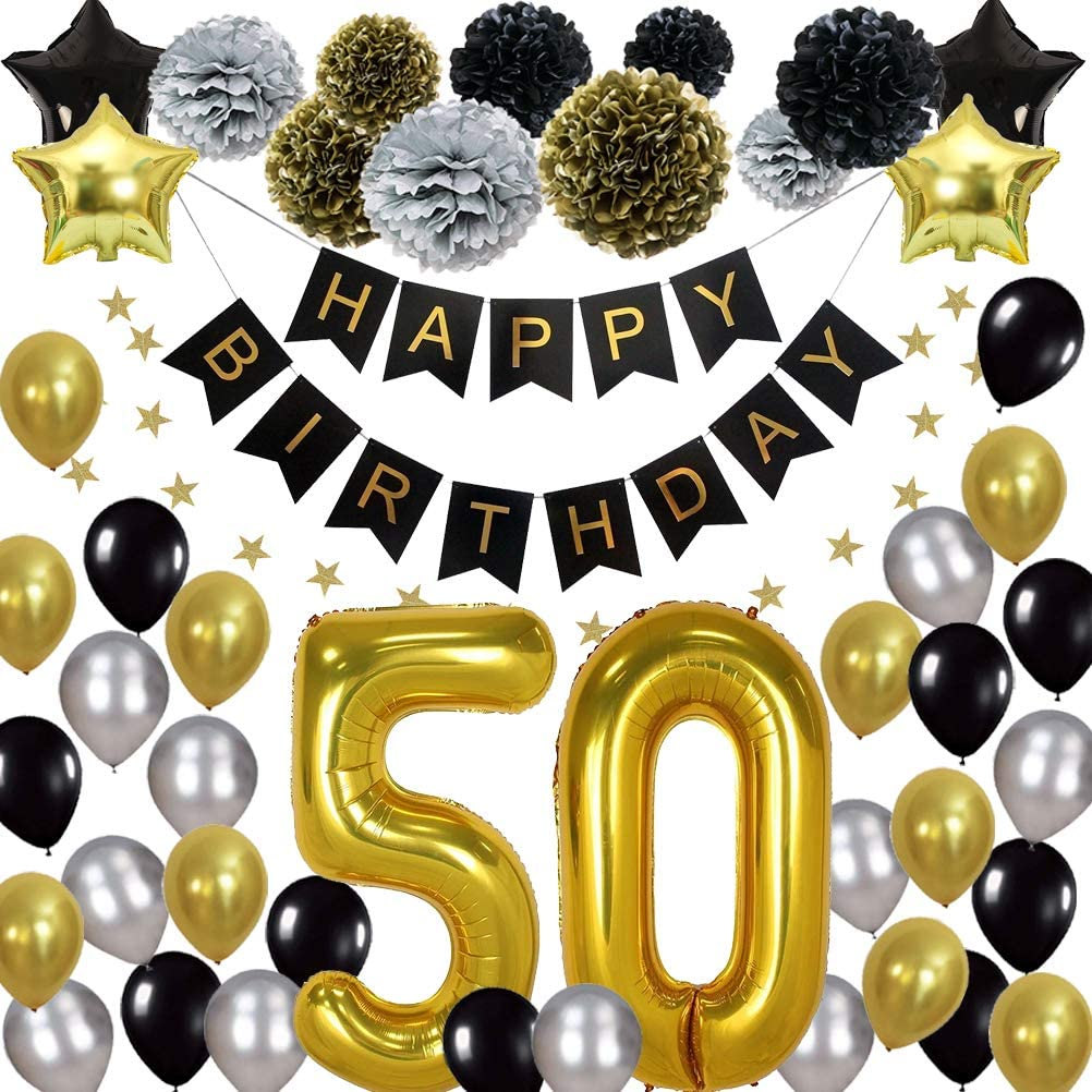 Happy 40th Birthday Party Decorations-Black,White,Silver and Gold-Complete Party Supply Set Includes Happy Birthday Banner 40inch Foil Balloons 18 Latex Ballons and 6 Pom Poms