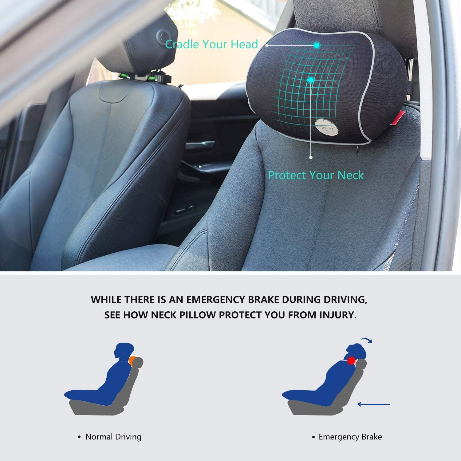 Black muchkey Car Lumbar Support Back Cushion /& Headrest Neck Pillow Kit Cushion Memory Foam Erognomic Design with Back Pain Relief for Chrysler 200 300 Pacifica DS DS3//CABRIO DS4//crossback DS5