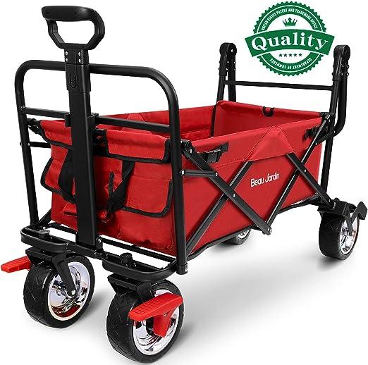 BEAU JARDIN Carretillas de Carro Plegable con Freno con Carro Plegable de Mano Carro Transporte para jardín Carro para Playa Carga hasta 80kg Rojo: Amazon.es: Jardín