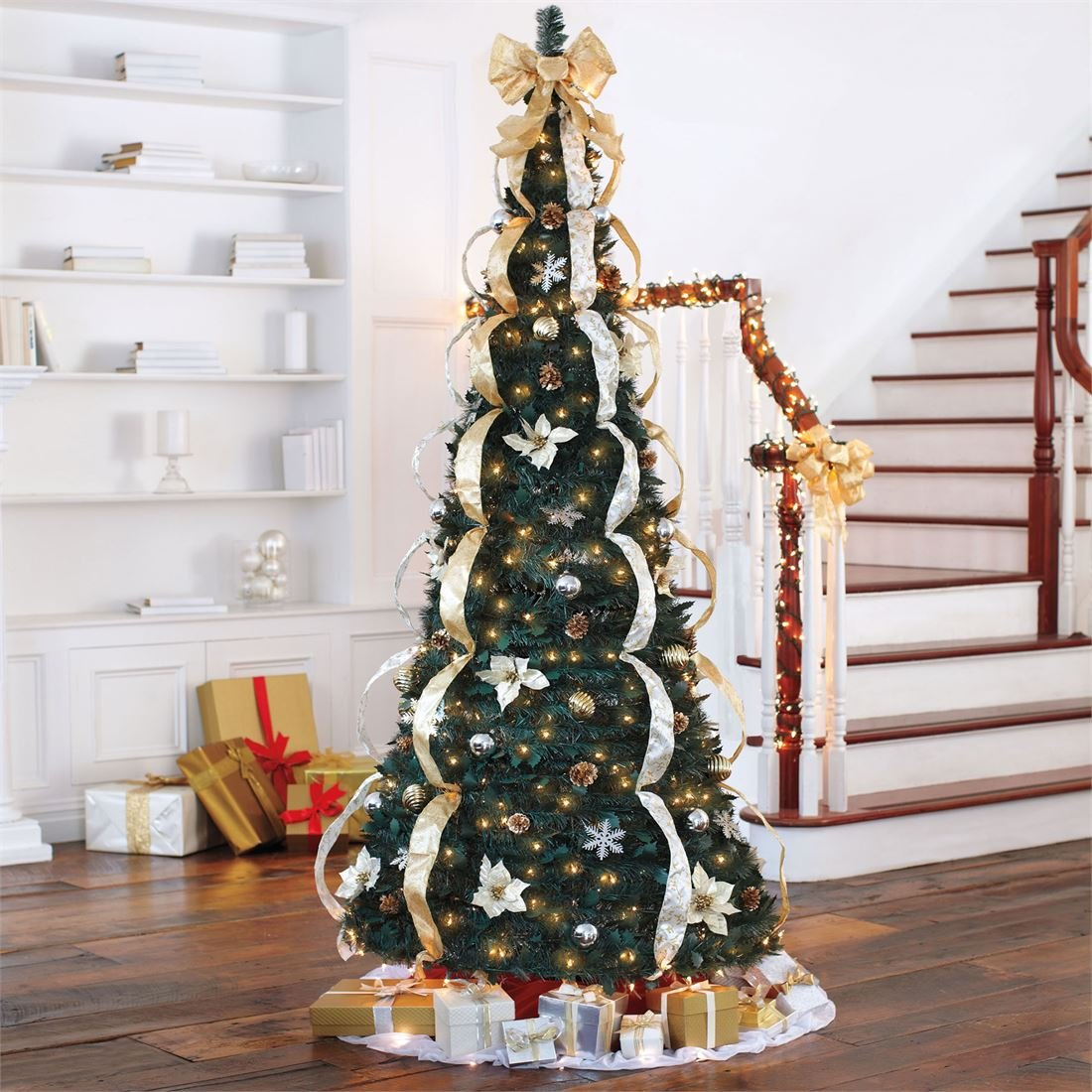 amazoncom brylanehome 712 deluxe pop up christmas tree silver gold0 home kitchen - Pre Decorated Pop Up Christmas Trees