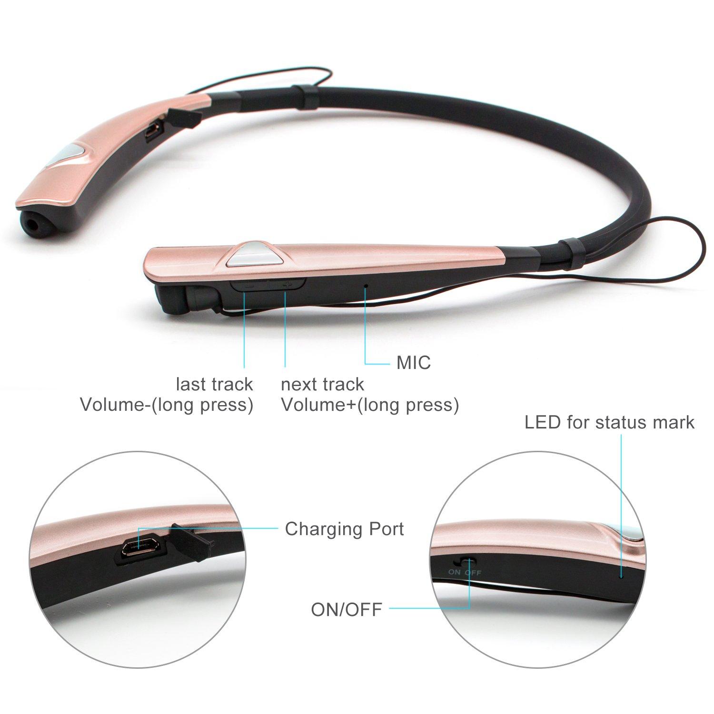 Bluetooth auriculares con banda para el cuello auriculares inalámbricos Bluetooth4.1 auricular manos libres con voz clara captura tecnología Bluetooth ...