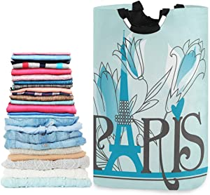 visesunny Paris Letters Blue Pattern Large Laundry Hamper with Handle Foldable Durable Clothes Hamper Laundry Bag Toy Bin for Bathroom, Bedroom, Dorm, Travel