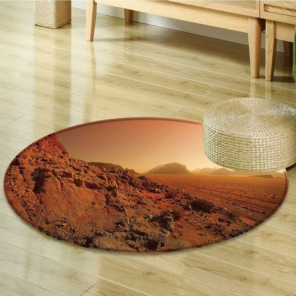 Small round rug Carpet from the Movie Fictional War Themed Mountains Brown Yellow door mat indoors Bathroom Mats Non Slip-Round 35''