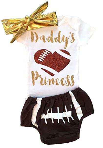 5534e686a980 Amazon.com  UNIQUEONE 3Pcs Baby Girl Summer Outfit Set Short Sleeve Daddy s  Football Princess Bodysuit Tops Shorts with Headband  Clothing