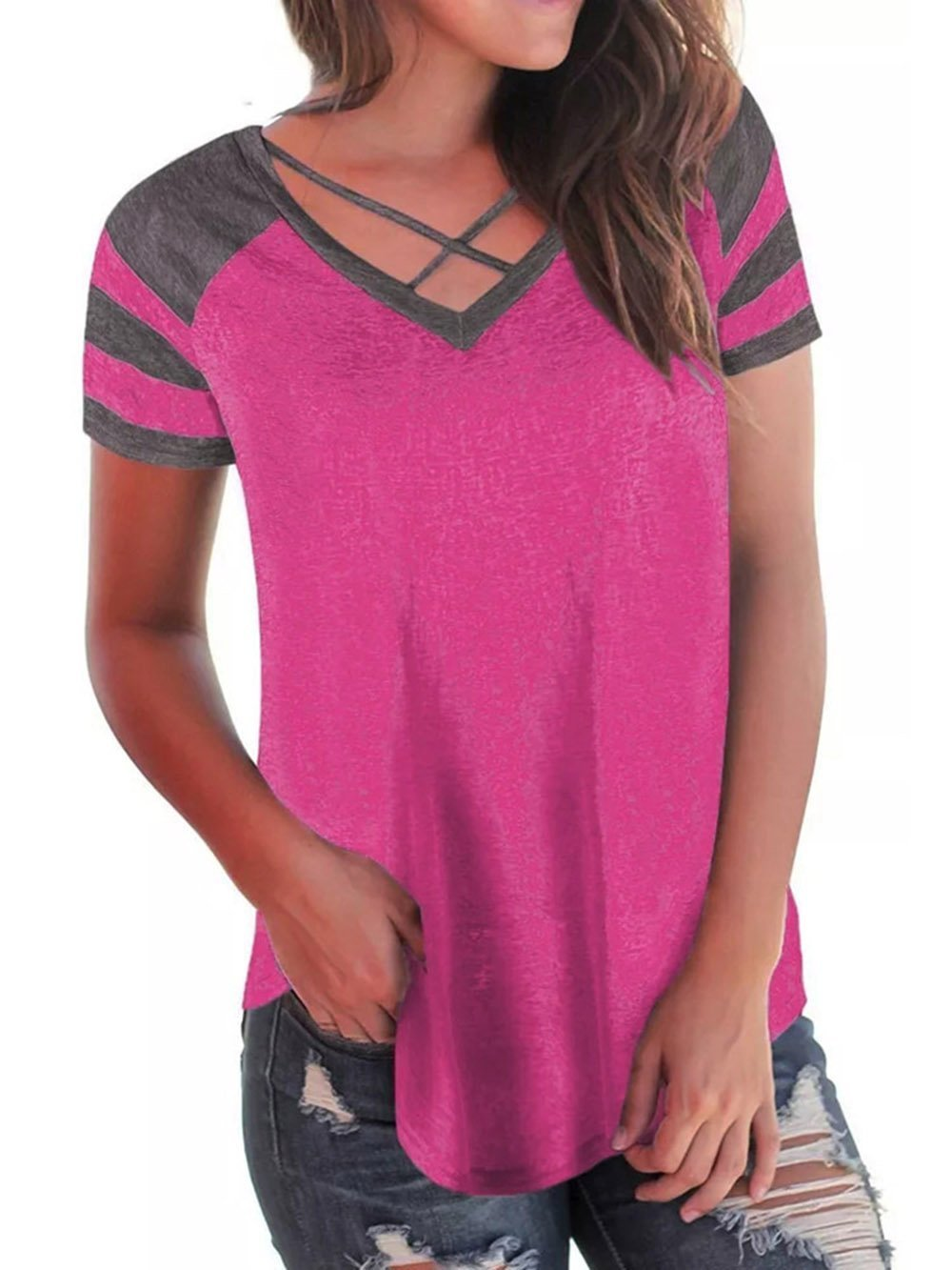 Womens Summer Short Raglan Sleeve V Neck T Shirts Loose Criss Cross Curve Hem Casual Tee Tops