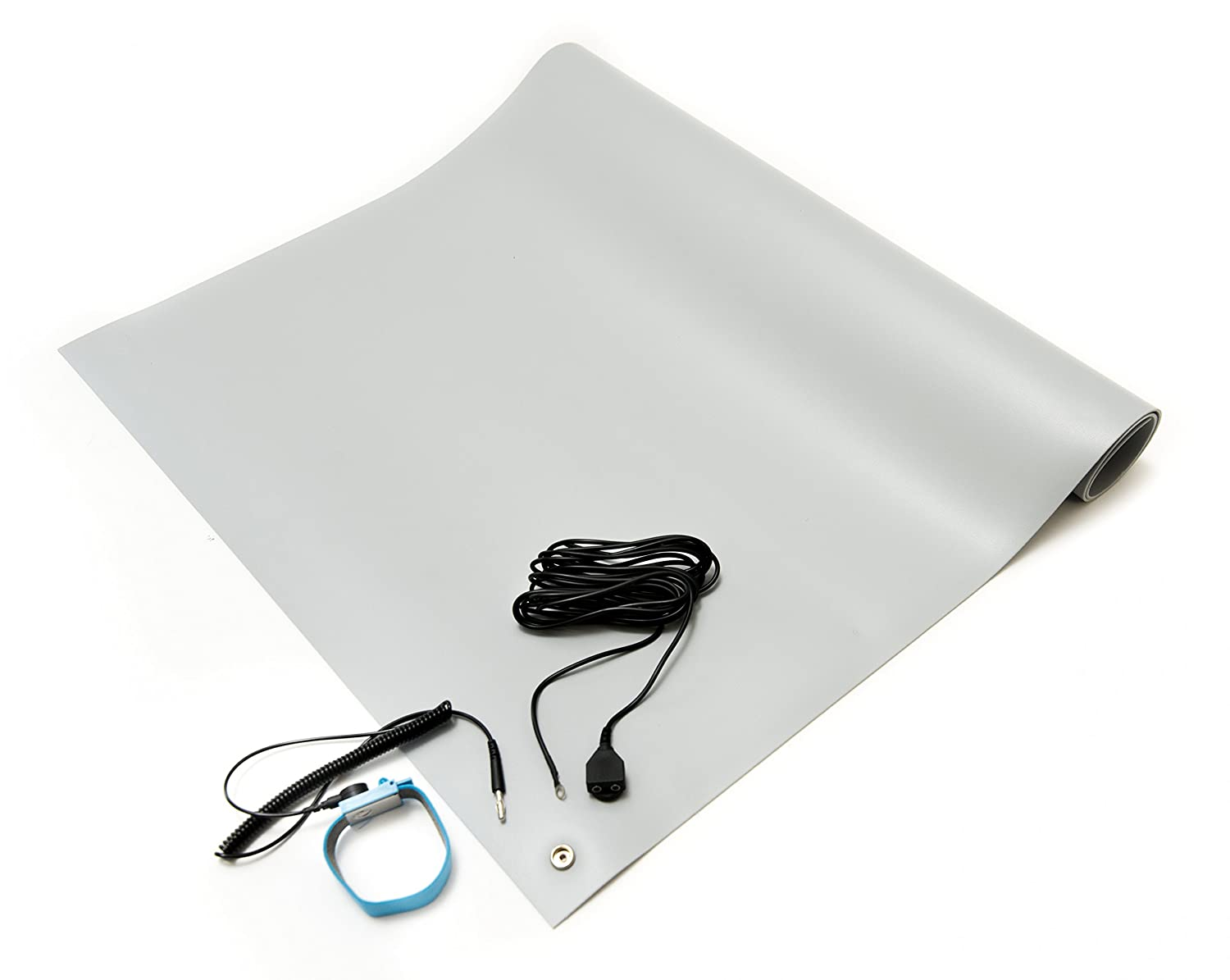 """Bertech ESD Mat Kit with a Wrist Strap and Grounding Cord, 2' Wide x 4' Long x 0.093"""" Thick, Gray (Made in USA)"""