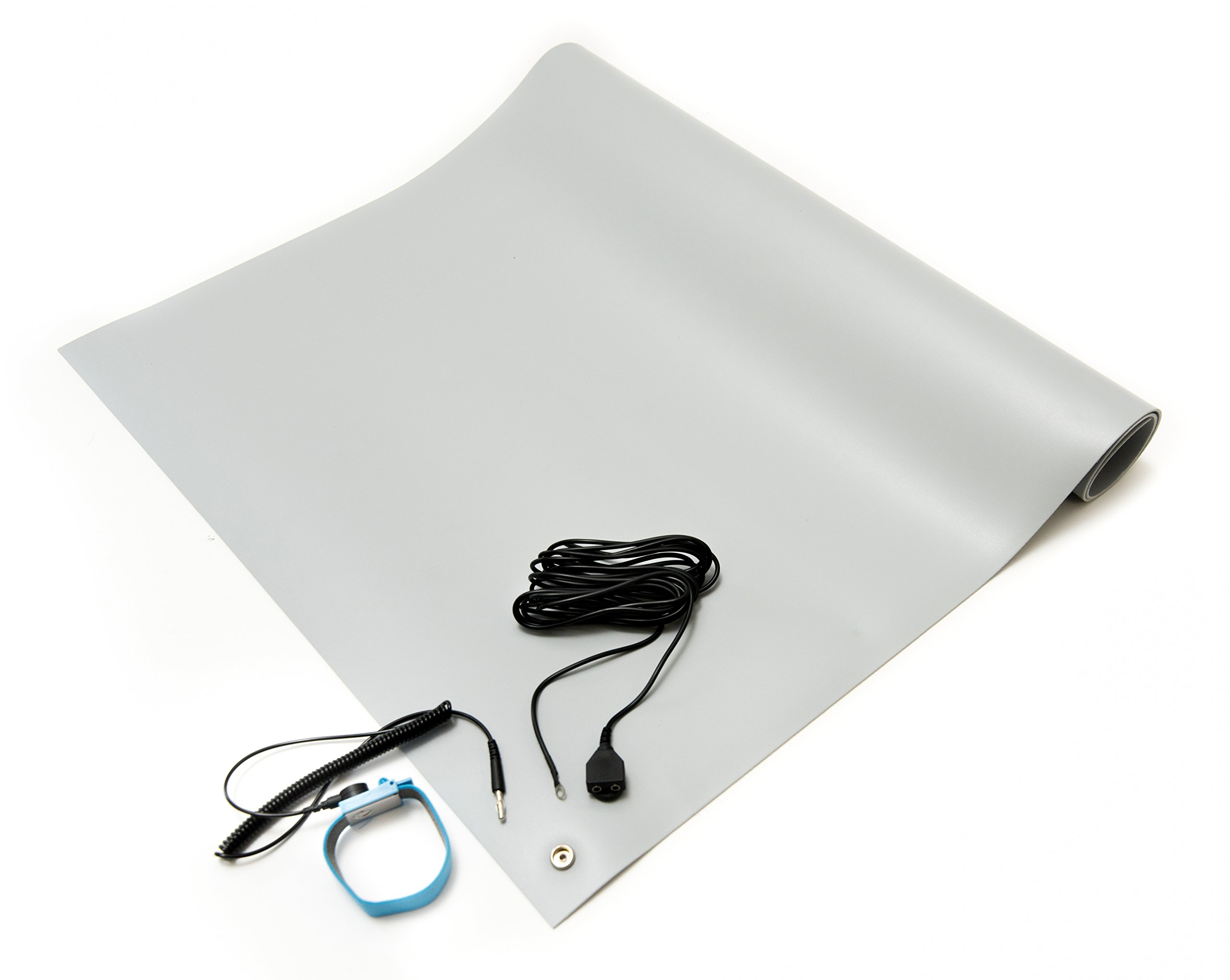 Bertech ESD Mat Kit with a Wrist Strap and a Grounding Cord, 18'' Wide x 30'' Long x 0.093'' Thick, Gray