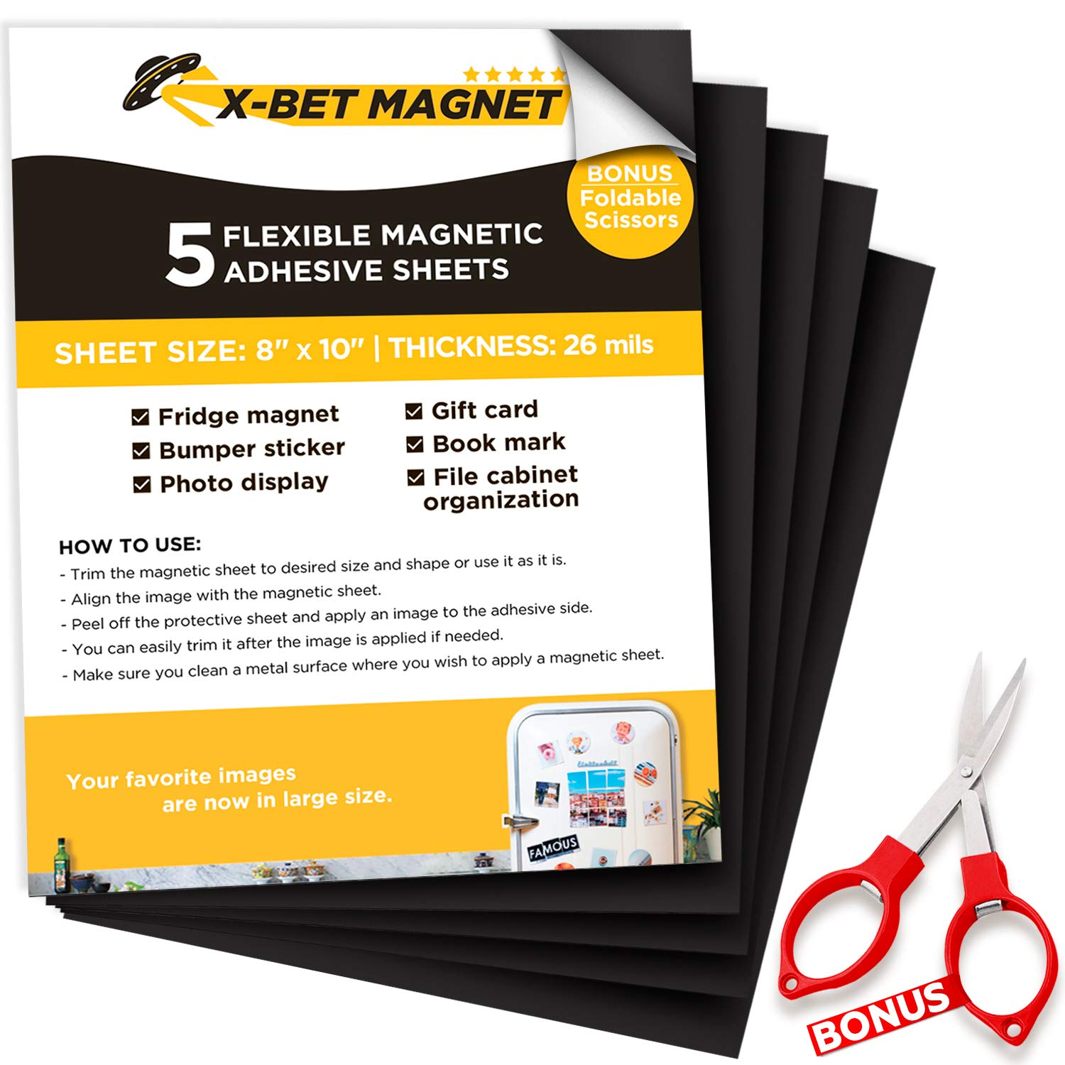 "Magnetic Sheets with Adhesive Backing - 5 PCs Each 8"" x 10"" - Flexible Magnetic Paper with Strong Self Adhesive - Sticky Magnet Sheets for Photo and Picture Magnets, Stickers and Other Craft Magnets"
