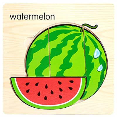 iFOMO Children Kids Gift Fruit and Vegetable Recognization Irregular Wooden Magnetic Puzzles Intelligence Early Educational Funny Toys (Watermelon): Clothing